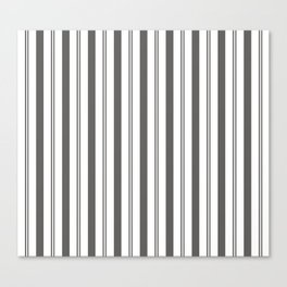 Pantone Pewter Gray & White Wide & Narrow Vertical Lines Stripe Pattern Canvas Print