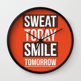 Lab No. 4 - Sweat Today Smile Tomorrow Gym Motivational Quote Poster Wall Clock