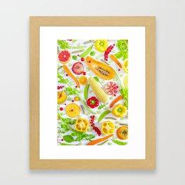 Fruits and vegetables pattern (12) Framed Art Print
