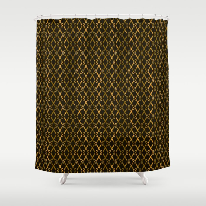Golden Brown Scissor Stripes Shower Curtain by gx9designs | Society6