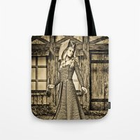medieval Tote Bags featuring Medieval Lady by Design Windmill
