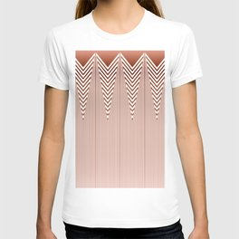 Art Deco Geometric Arrowhead Dusty Peach Design T-shirt