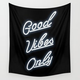 Good Vibes Only Neon Sign Print Wall Tapestry
