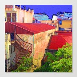 Vietnam Back alley Painting Blue Sky Canvas Print