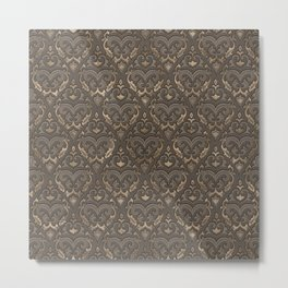 Oriental Pattern - Pastel Beige Leather Metal Print