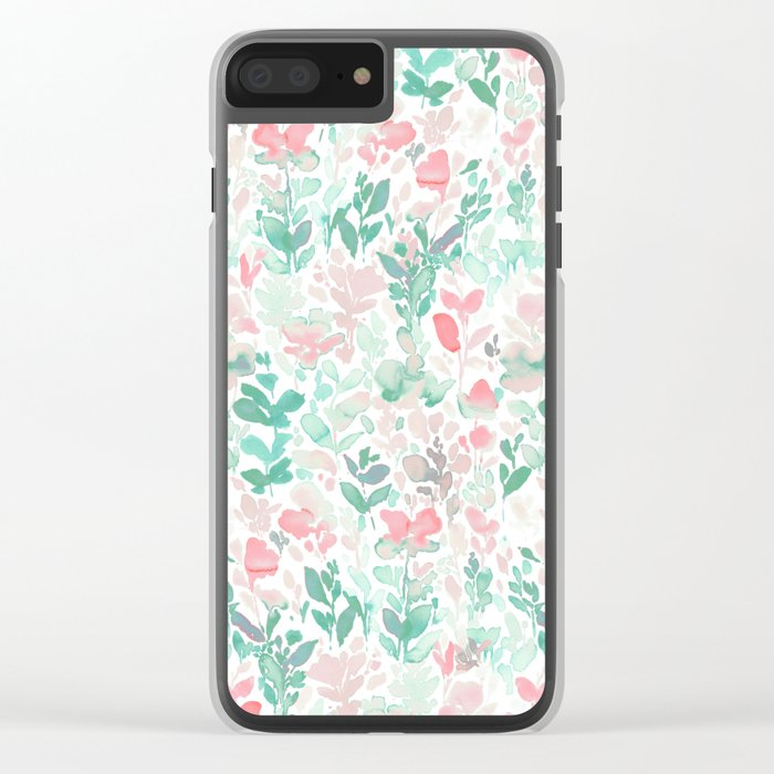 Flirt Mint Blush Clear iPhone Case