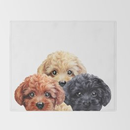 Toy poodle trio, Dog illustration original painting print Throw Blanket