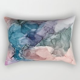 Heavenly Pastels 2: Original Abstract Ink Painting Rectangular Pillow