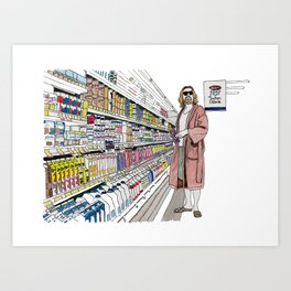 Jeffrey Lebowski and Milk. Art Print