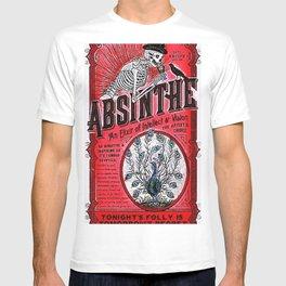 Vintage 1871 Red Absinthe Liquor Skeleton Elixir Aperitif Cocktail Alcohol Advertisement Poster T-shirt