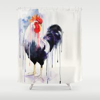 rooster Shower Curtains featuring Rooster  by Slaveika Aladjova