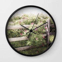 Fence Draped in Rosa Rugosa Wall Clock