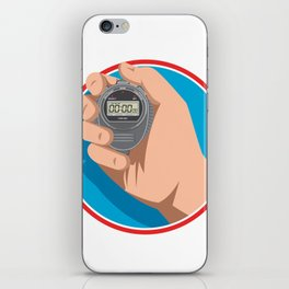 Hand Holding Digital Stopwatch Retro Style iPhone Skin