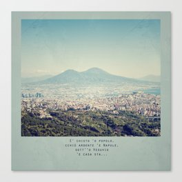 Naples view and neapolitan song words Canvas Print