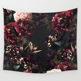 Vintage bouquets of garden flowers. Roses, dark red and pink peony.  Wall Tapestry