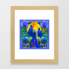 BLUE ROSES & BLUE GREEN PEACOCK FLORAL PATTERN Framed Art Print