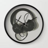 headphones Wall Clocks featuring Headphones by GoAti
