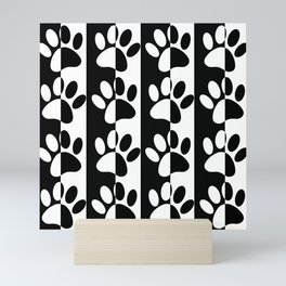 Black And White Dog Paws And Stripes Mini Art Print