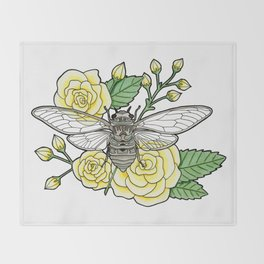 Cicada with Roses Throw Blanket