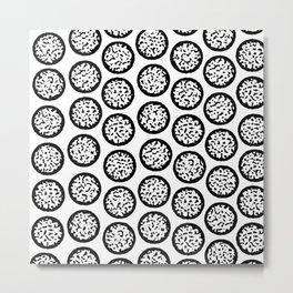 Winter Tree Stump Black and White Pattern Metal Print