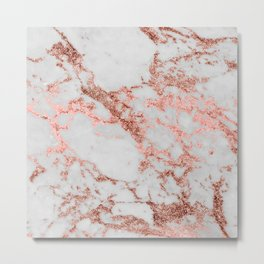 Stylish white marble rose gold glitter texture image Metal Print