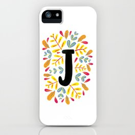 Letter 'J' Initial/Monogram With Bright Leafy Border iPhone Case