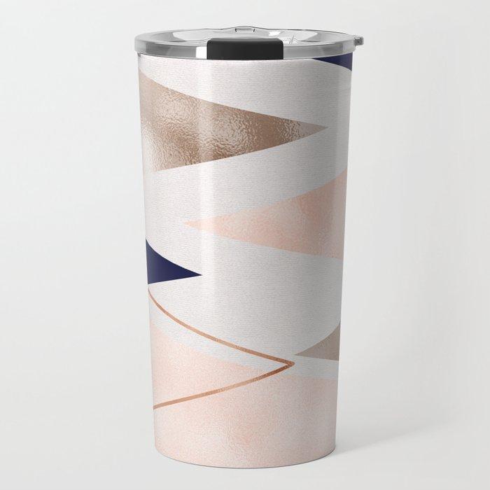 Rose gold french navy geometric Travel Mug