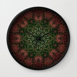 Warm Vintage Detailed Green Mandala Wall Clock