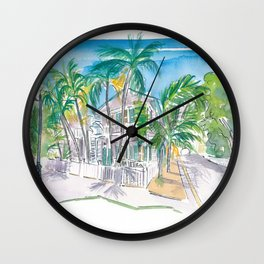 Conch Houses on Whitehead Street Key West Wall Clock