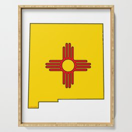 New Mexico Map with State Flag Serving Tray