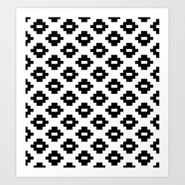 Black and White Woven Diamonds Art Print