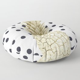 Gold Pineapple on Black and White Polka Dots Floor Pillow