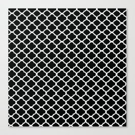 Black and White Graphic Flower Canvas Print