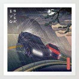 Mitsubishi Lancer Evolution, Summer rain drift - Traditional Japanese style Art Print