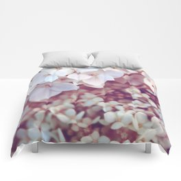 Pink and White Flowers (Color) Comforters