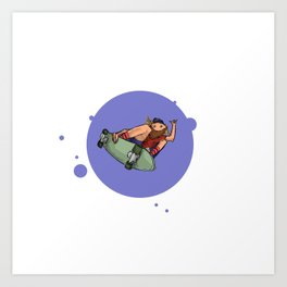 Cruisin Blue Skater Art Print