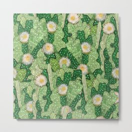 Cacti Camouflage, Succulent Bloom Floral Pattern Paper Collage Green White Metal Print