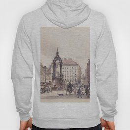 The Large Market In Vienna 1845 by Rudolf von Alt | Reproduction Hoody