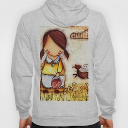 Girl and her Cat After apple picking Hoody
