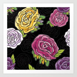 Retro Roses Art Print