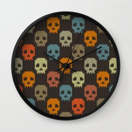 Knitted skull pattern - colorful Wall Clock