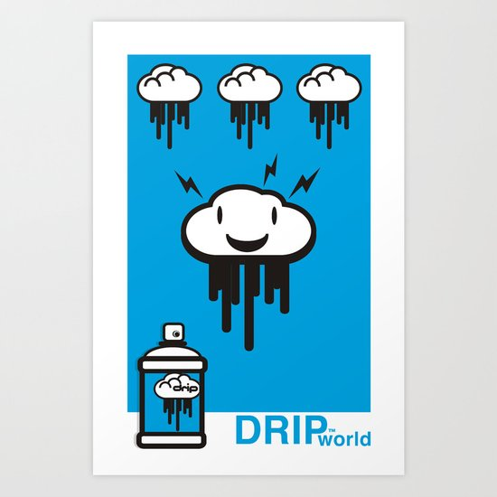 Drip World Blue Art Print