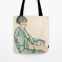 "Egon Schiele ""Sitting Semi-Nude with Blue Hairband"" Tote Bag"