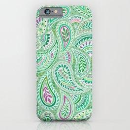 Jade Green Paisley iPhone Case