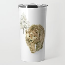 Bear in the winter forest Travel Mug