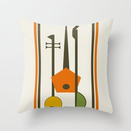 Mid-Century Modern Art Musical Strings Throw Pillow