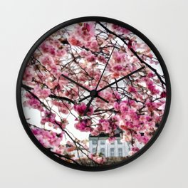 Painting of a Colourful Spring Season under the Fully Bloomed Cherry Blossoms Wall Clock