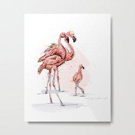 Flamingos family Metal Print
