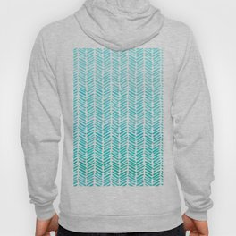 Handpainted Chevron pattern - small - light green and aqua teal Hoody