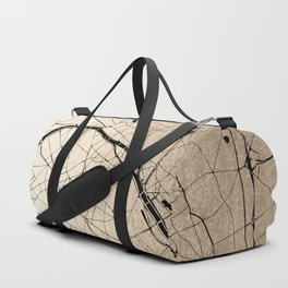 Paris France Minimal Street Map - Gold on Black II Duffle Bag